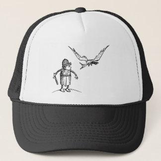Vogel, der am Schokoladenkuchen Swooping ist Truckerkappe