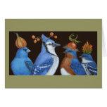 Vögel des Blaus auf orange Hut-Nachtkarte Grußkarten