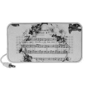 Vögel, die französischen Blatt-Musik-BlumenWreath Laptop Lautsprecher