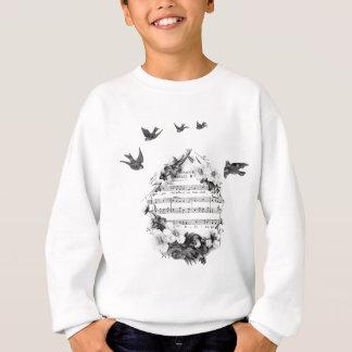 Vögel, die französischen Blatt-Musik-BlumenWreath Sweatshirt