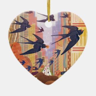 Vögel, die in die Stadt fliegen Keramik Ornament