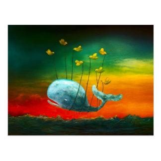 Vögel, die mit einer Wal-Kunst fliegen Postkarte