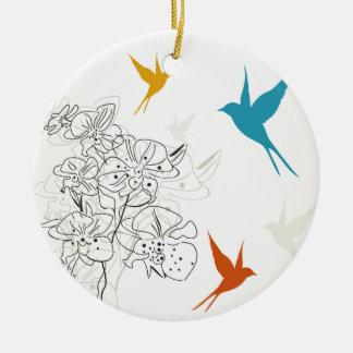 Vögel ein flower2 keramik ornament