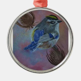 Vögel Golden-krönten Kinglet Silbernes Ornament