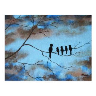 Vögel im Baum in der abstrakten Kunst der Postkarte