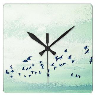 Vögel im Flug Quadratische Wanduhr