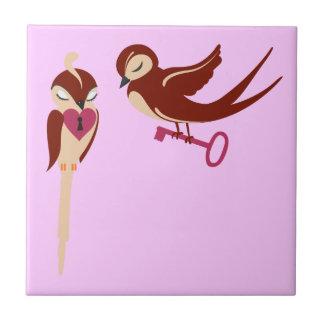 Vögel im Liebe-Schlüssel zu meinem Herzen Kleine Quadratische Fliese