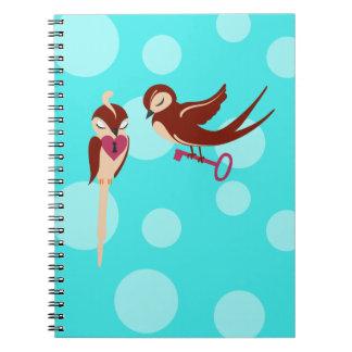Vögel im Liebe-Schlüssel zu meinem Herzen Notizbuch