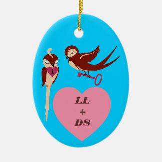 Vögel im Liebe-Schlüssel zu meinem Herzen Ovales Keramik Ornament