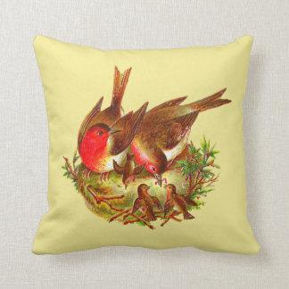 Vögel im Nest-Akzent-Kissen Kissen