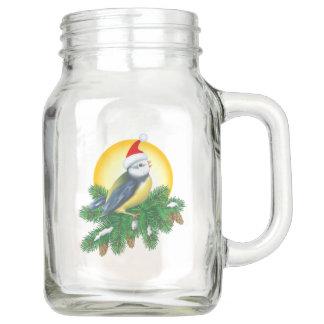 Vogel in der Weihnachtsmannmütze Einmachglas