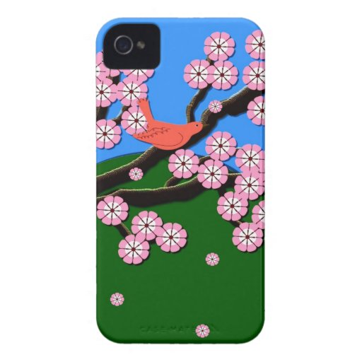 Vogel in rosa Kirschblüten iPhone 4 Fall Case-Mate iPhone 4 Hülle