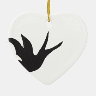 Vogel Keramik Herz-Ornament