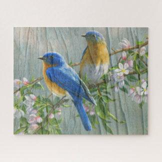 Vogel-Kirschblüten-hölzerne Muster-Aquarell-Kunst Puzzle