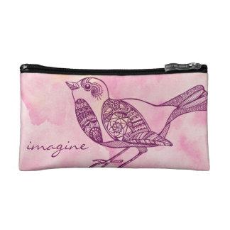 Vogel-kosmetische Tasche im Aquarell