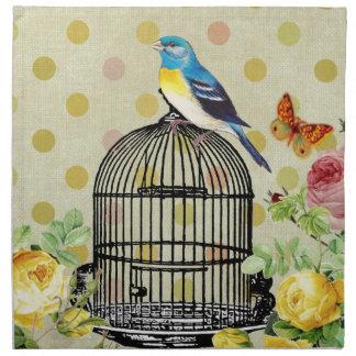 Vogel mit Blumen, Kunst, Entwurf, schön, neu, Mode Stoffserviette