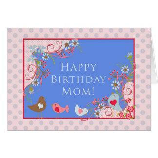 Vögel 'n blüht, alles- Gute zum Geburtstagmamma! Grußkarte