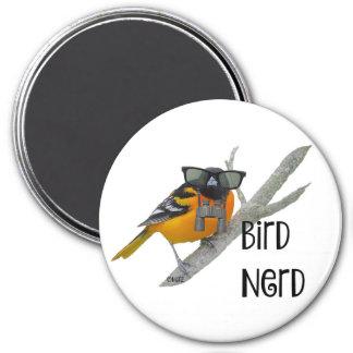 Vogel-Nerd-Magnet Runder Magnet 7,6 Cm