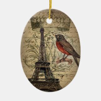 Vogel-Paris-Eiffelturm der Jubiläumkrone Keramik Ornament