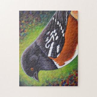 Vogel-Puzzlespiel - gepunkteter Towhee Puzzle