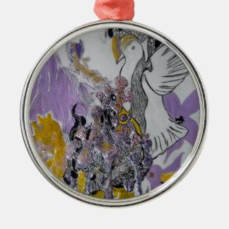 Vogel-Schlangen-und Frauen-Entwurf Rundes Silberfarbenes Ornament