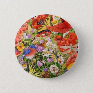 Vögel, Schmetterlinge und Bienen-Knopf Runder Button 5,7 Cm