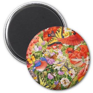 Vögel, Schmetterlinge und Bienen-Magnet Runder Magnet 5,7 Cm