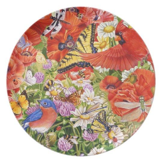 Vögel, Schmetterlinge und Bienen-Melamin-Platte Melaminteller