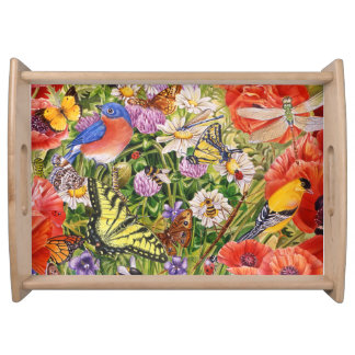 Vögel, Schmetterlinge und Bienen Serviertablett