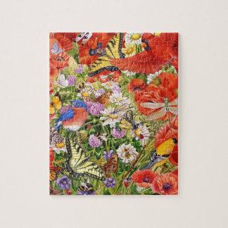 Vogel-, Schmetterlings-und Bienen-Puzzlespiel Puzzle