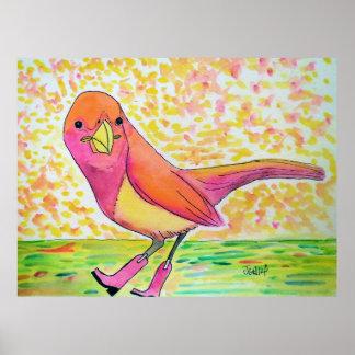 Vogel Stiefel-Aquarell-im ursprünglichen Poster