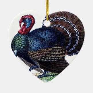 Vogel-Tierfeiertag versieht die Vintage Türkei mit Keramik Herz-Ornament