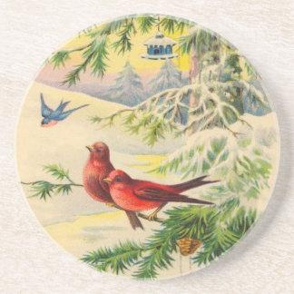 Vögel und Ast-WeihnachtsUntersetzer Getränkeuntersetzer