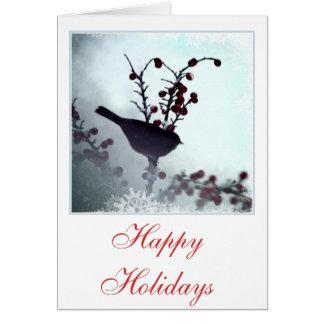 Vogel- und Beeren-Weihnachtsgrußkarten Karte