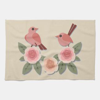 Vögel und Blumen Handtuch
