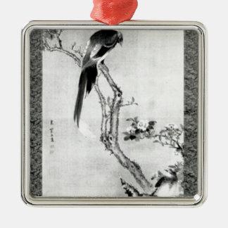Vögel und Blumen - Japaneredo-Zeitraum Silbernes Ornament