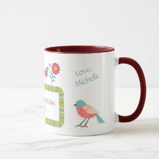 Vögel und Blumen-personalisierte Mamma Tasse