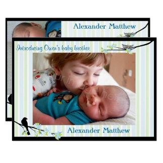 Vogel-und Blüten-Foto-Geburts-Mitteilungs-Blues Karte