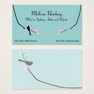 Vogel-und Blüten-Silhouette-Geschäfts-Karte Visitenkarte