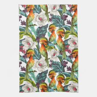 Vogel und exotisches Blumen-Muster Handtuch