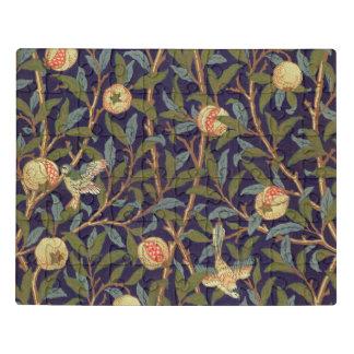 Vogel-und Granatapfel-Vintages Blumen Williams Puzzle