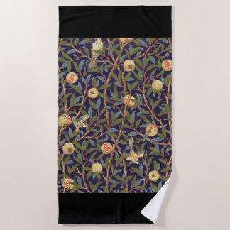 Vogel-und Granatapfel-Vintages Blumen Williams Strandtuch