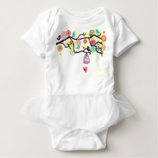 Vögel und Herz Ballettröckchen Onsie Baby Strampler