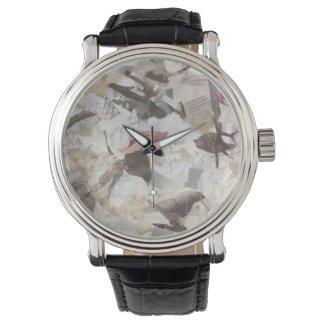 Vögel und Musiknoten-Collagen-Uhr Armbanduhr