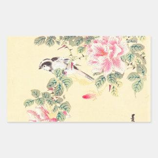 Vogel und Rosen Imao Keinen ukiyo-e Blumen Japan Rechtecksticker