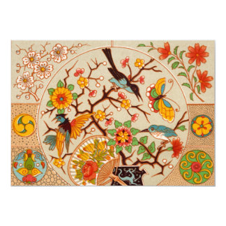 Vogel-und Schmetterlings-Einladung 12,7 X 17,8 Cm Einladungskarte