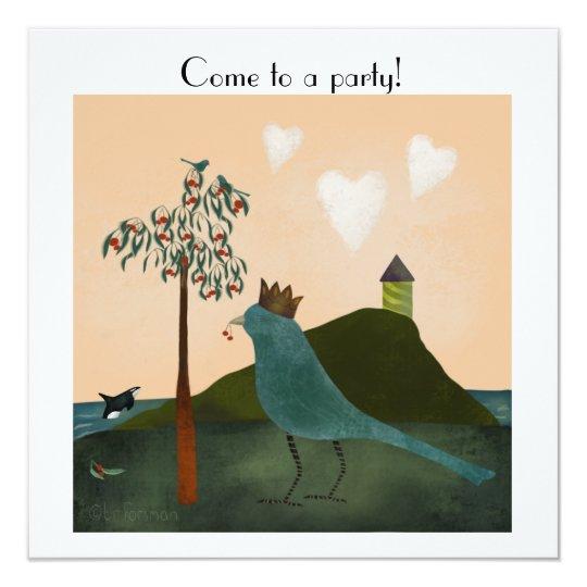 Vogel und Schwertwal mit Kirschbaum durch das Meer Quadratische 13,3 Cm Einladungskarte