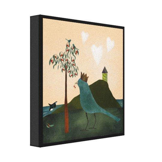 Vogel und Schwertwal mit Kirschbaummalerei Leinwanddruck