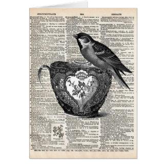 Vogel und Teeschale Grußkarte