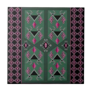 Vögel und Trauben grün und rosa kilim Muster Keramikfliese